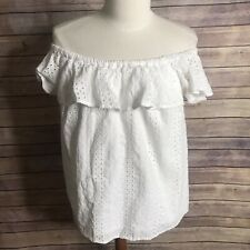 Anthropologie Eri Ali SZ XS White Eyelet Ruffle Off The Shoulder Top Blouse