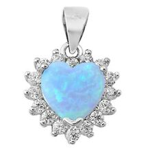 Lab Created Light Blue Opal Heart with CZ  Pendant