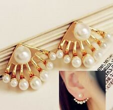Delicate Creamy White Pearl Gold Curved Arc Ear Jacket Cuff Earrings Urban Trend