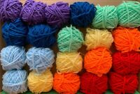 Rainbow Yarn Wool Job Lot Knitting Crochet Squares Pompom Crafts Toys Bundle DK