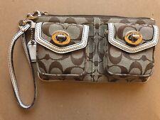 Coach Zip Top Wristlet Handbag Purse - Brown / Beige  (5098)