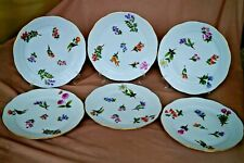 Herend 6 pcs dinner plates with detailed flowers and fruit pattern handpainted