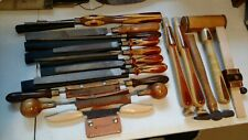 Woodworking tools custom made handles lot 15 files, draw knives, hammer & more