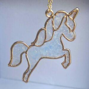 Unicorn Pegasus Blue Glow In The Dark Pendant 18k Gold Plated Necklace Women