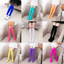 Girls Ladies Thigh High Over Knee Socks Women Long Cotton Stockings Candy Color