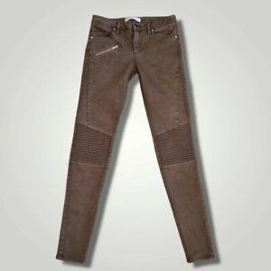 "ZARA Khaki Green Biker Skinny Jeans (28""W/29""L) ASO Kate Middleton *RARE*"