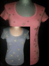 NWT 2 Tommy Hilfigher Womens Short Sleeve Blouse Shirt  Sz X-Small Orange Gray