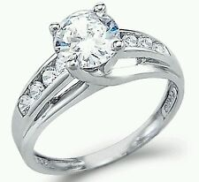Solid 14k White Gold 1.50TCW Round CZ Engagement Solitaire Ring