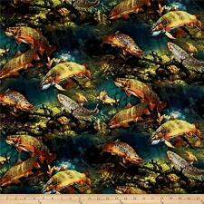 Wild Wings Scenic Speckled Fin Fish 100% cotton Fabric by the yard