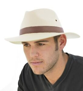Mens Classic Summer Cotton Fedora Hat With Brown Band Range of Sizes