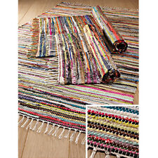FAIR TRADE INDIAN RAG RUG CHINDI HAND LOOM RECYCLED COTTON SHABBY CHIC
