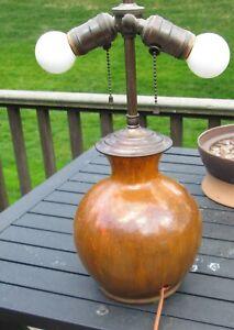 Antique Pilkington's Royal Lancastrian vase lamp brown orange Art Nouveau feel