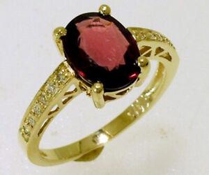 R169 Genuine 9K or 18K Gold Natural Oval Garnet & Diamond Engagement Ring yr siz