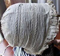 BONNET DE BAPTEME BRODE MAIN DENTELLE rare et ancien POUR COLLECTION