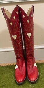 Cutter Bill Western World Houston Dallas Red Love Hearts Western Boots Sz 9