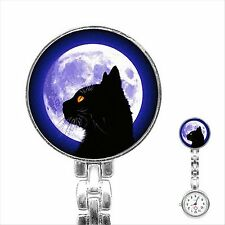 Black Cat Full Moon Stainless Steel Nurse Watch Nurses Watch Fob Watch D01