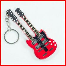 LED ZEPPELIN - GUITARE MINIATURE PORTE CLE !  JIMMY PAGE Double Manche Neck Rock