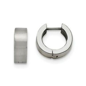 Stainless Steel Brushed Hinged Huggie Round Hoop Earrings, 5.5 x 13mm