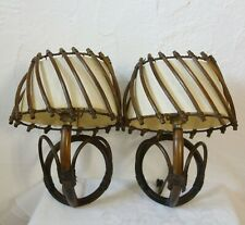 PAIRE APPLIQUE LAMPE ROTIN VINTAGE 1950 LAMP RATTAN SCONCE 50's LAMPARA RATAN