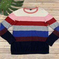 Talbots Striped Sweater Size M Pink Blue Zipper Trim Pullover Crewneck