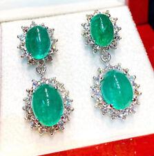 Black Friday 1.92ct Natural Diamond 14k Solid White Gold Emerald Dangler Earring