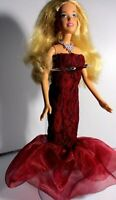 barbie doll long blonde hair silver necklace crimson lace evening dress & shoes