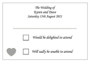 10 Personalised Wedding RSVP Cards - Any Heart Colour - Envelopes Optional