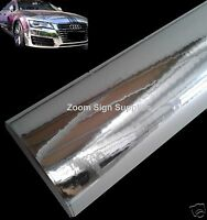 SILVER MIRROR CHROME WRAPPING VINYL BUBBLE FREE STICKY BACK PLASTIC CHOOSE SIZE