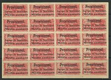 COLOMBIA-SANTANDER. 1903. 1/2c Provisional Ovpt on Postal Fiscal. Complete Sheet