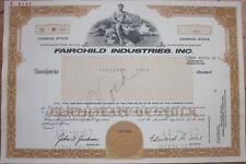 Specimen Stock Certificate: 'Fairchild Industries, Inc.' - Aviation/Aircraft