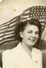 VINPAGE PATRIOTIC WOMAN USA FLAG SNAPSHOT LADY PHOTO VERNACULAR PHOTOGRAPHY FUN