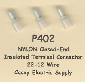 50 NYLON Insulated Closed End Terminal Connectors #22-12 Wire AWG MOLEX