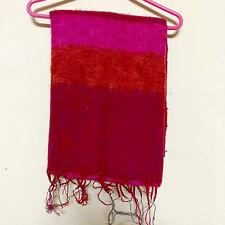 Pink Red Yak Wool Shawl Scarf Wrap Tibetan Nepalese Handmade Nepal YS10