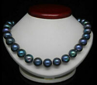 "18"" GORGEOUS 9-10MM AAA+ NATURAL BLACK BLUE Tahitian PEARL NECKLACE 14K GOLD"