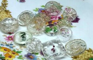 Vintage job lot of assorted clear glass buttons