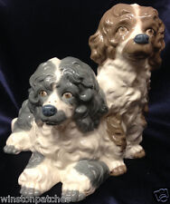 NADAL SPAIN HANDMADE TWO DOGS FIGURINE PUPPY TOGETHER BROWN & WHITE GREY & WHITE