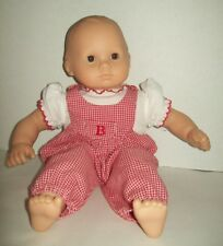 Pleasant Co. Bitty Baby Doll Red Gingham overalls Brown Hair Eyes American Girl
