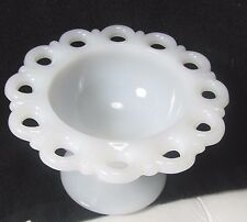 Westmoreland White Milk Glass Opaque Candy Snacks Trinket Pedestal Footed Bowl