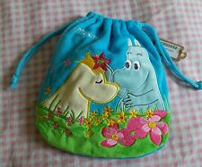 Moomin Valley Characters Cotton Light Blue Multi use Drawstring Pouch