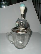 Ekco Depression Glass Pitcher/Mixing Bowl & A&J Splash Guard Egg Beater/Mixer