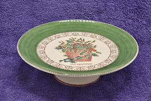 Wedgwood Sarah's Garden Christmas Holly Green Border 28cm Footed Cake Stand