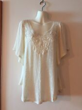Anthropologie Deletta Knit Blouse Lace Embroidered Detail Batwing Boho Cream M
