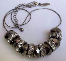 collier bijou rétro couleur argent rhodié perle hématite cristaux diamant  5