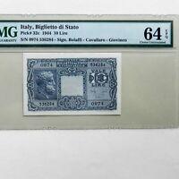 1944 Italy 10 Lire, Pick # 32c, PMG 64 EPQ Choice Uncirculated
