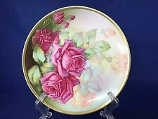 Thomas Sevres Hand Painted Pink Peach Roses Signed Cabinet Display Plate Bavaria