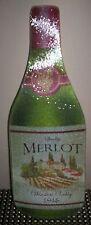 RED WINE MERLOT WINE THEMED BOTTLE SHAPED CUTTING BOARD CHEESE BOARD