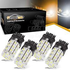 4pcs 3157 3357 Switchback Dual Color White/Amber 60LED Turn Signal Light Bulbs