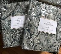 Pottery Barn Set 2 Mackenna Drapes Blue 84L Curtain Pair Medallion Mckenna New