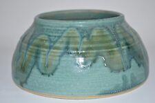 Art Pottery Alison McCauley - Pot Bowl Green wavy design in the glazing