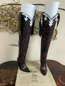 Black and red stitching 32'' High  made to order your size genuine leather boots
